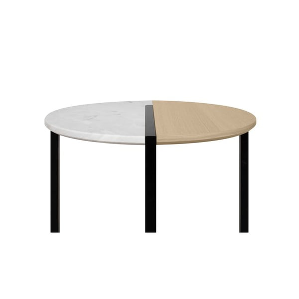 Stolik z blatem z drewna dębu i marmuru TemaHome Sonata, ø 80 cm
