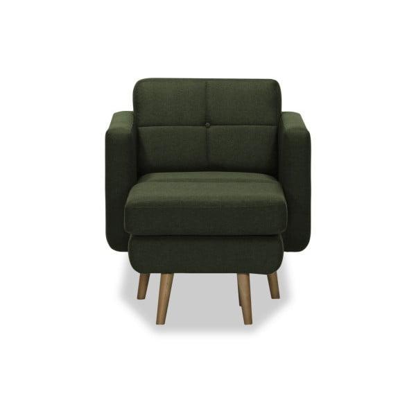 Ciemnozielony fotel z pufem Vivonita Magnus
