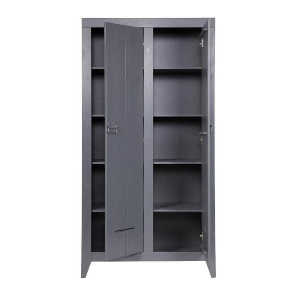 Ocelově šedá voukřídlá skříň De Eekhoorn Kluis