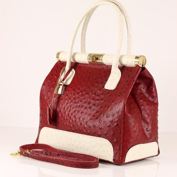 Kožená kabelka Rosalind, červená/bílá