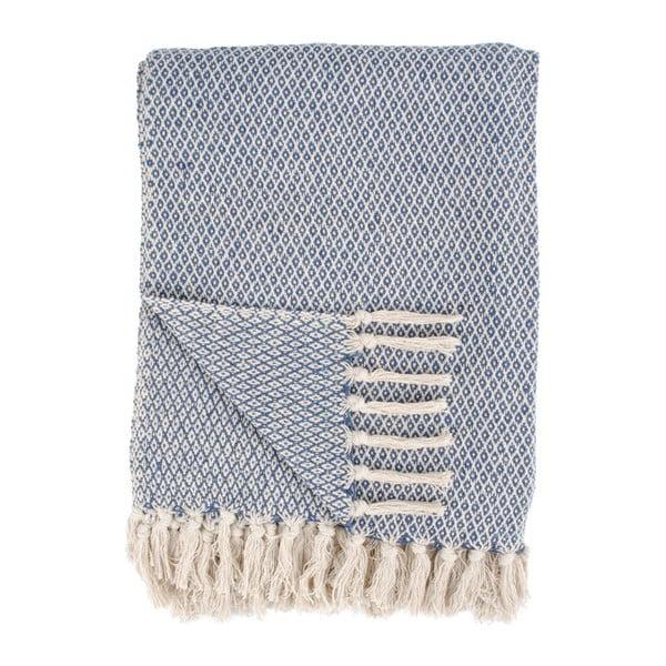 Niebiesko-biały koc bawełniany we wzory House Nordic Cort, 170x130 cm