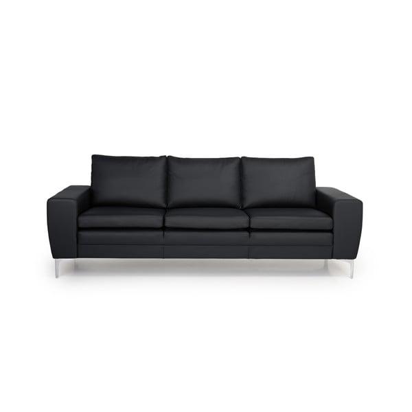 Černá kožená pohovka Scandic Twigo, 227 cm