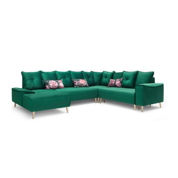 Canapea extensibilă, cu șezlong pe partea stângă Bobochic Paris Panoramique XXL Hera, verde de la Bobochic Paris