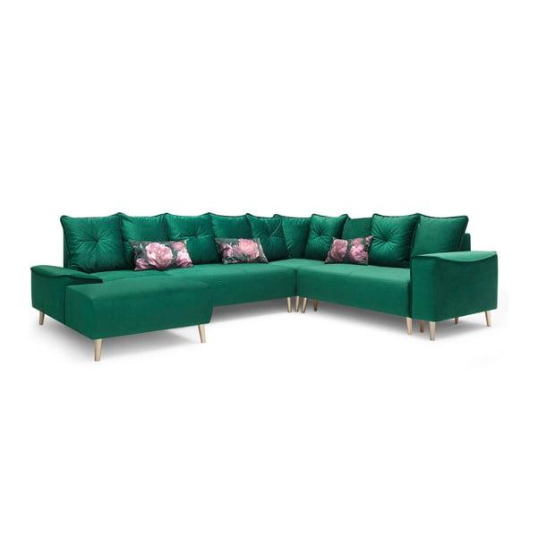 Canapea extensibilă, cu șezlong pe partea stângă Bobochic Paris Panoramique XXL Hera, verde