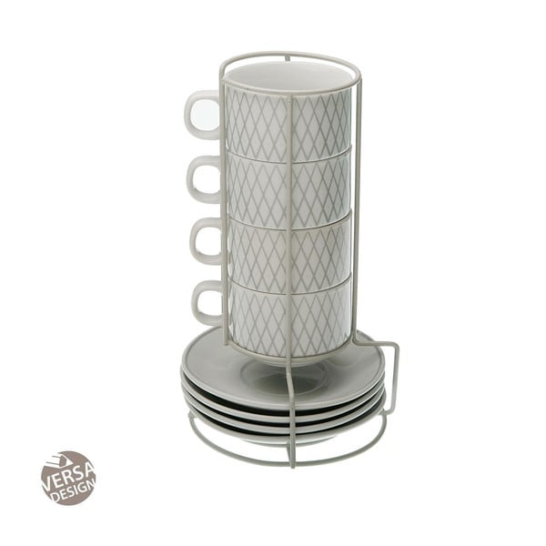Set 4 hrnečků na čaj s podšálkem a stojanem Versa Diamond
