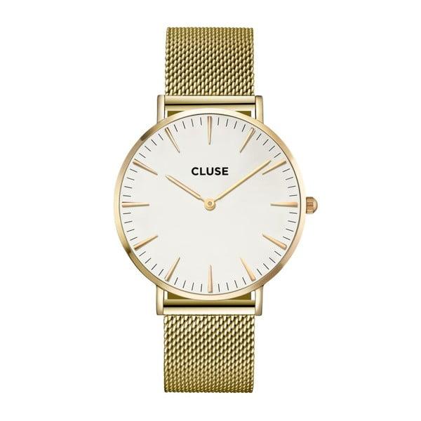 Dámské hodinky z nerezové oceli ve zlaté barvě s bílým ciferníkem Cluse La Bohéme