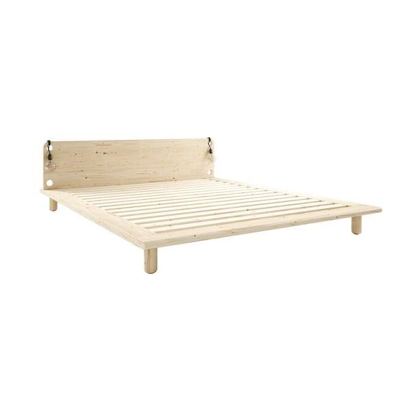 Łóżko dwuosobowe z litego drewna z lampkami Karup Design Peek, 160 x200 cm