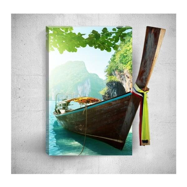 Nástěnný 3D obraz Mosticx Tropical Boat Voyage, 40 x 60 cm