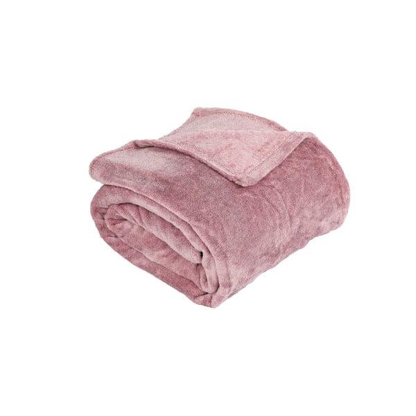 Růžový přehoz z mikroflanelu Tiseco Home Studio Bitone, 130 x 170 cm