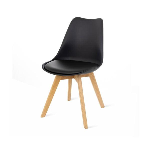 Retro 2 db fekete szék, bükkfa lábakkal - loomi.design