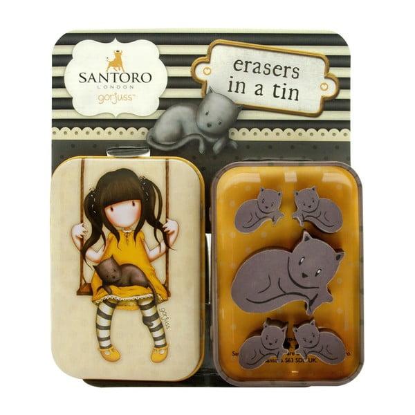 Sada 2 žlutých gum v plechové krabičce Santoro London