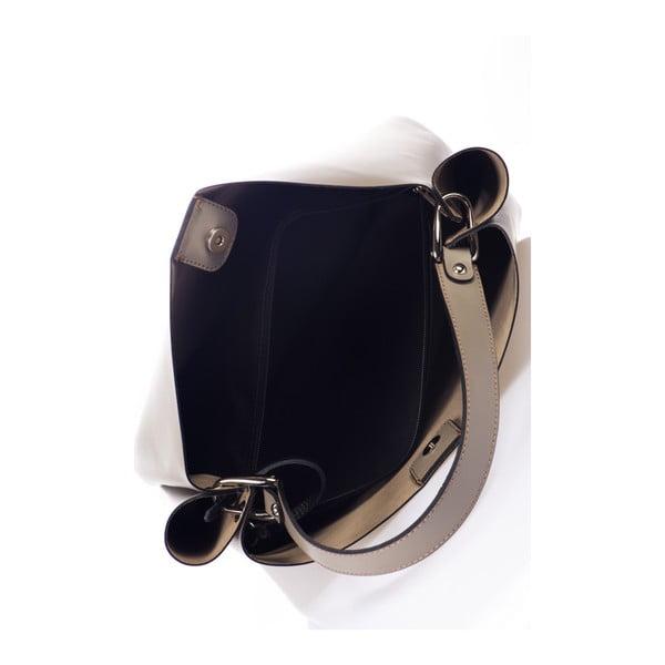 Šedobéžová kožená kabelka Giulia Massari Dona
