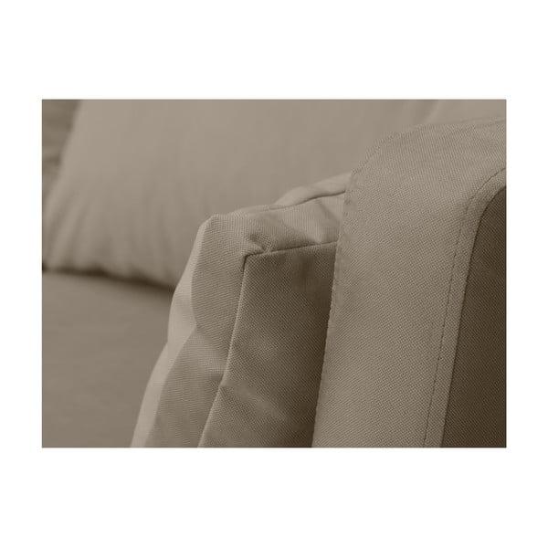 Tmavě béžová třímístná pohovka Mazzini Sofas Elena, slenoškou na pravém rohu