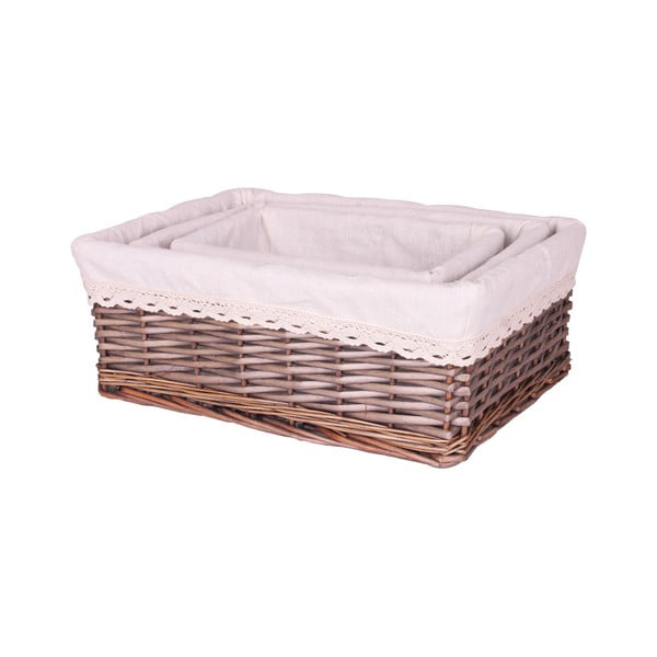 Sada 3 proutěných košíků bílou textilií Maiko