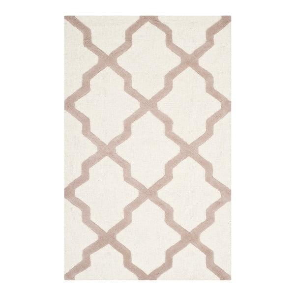 Vlněný koberec Ava White Beige, 91x152 cm