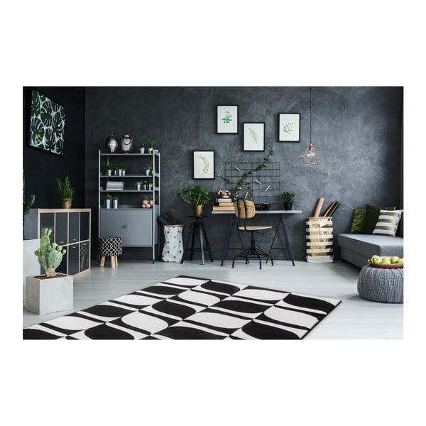 Černobílý koberec Obsession My Black & White Kresso, 80 x 150 cm