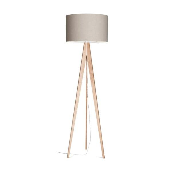 Stojací lampa Artist Grey Linnen/Birch, 125x42 cm
