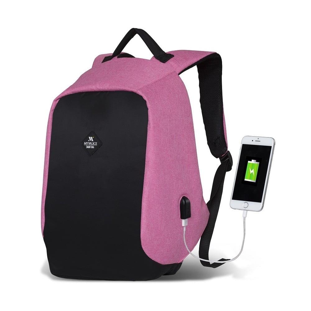 Černo-růžový batoh s USB portem My Valice SECRET Smart Bag 3489d8ee1a