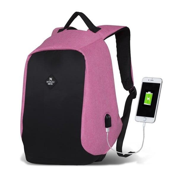 Černo-růžový batoh s USB portem My Valice SECRET Smart Bag