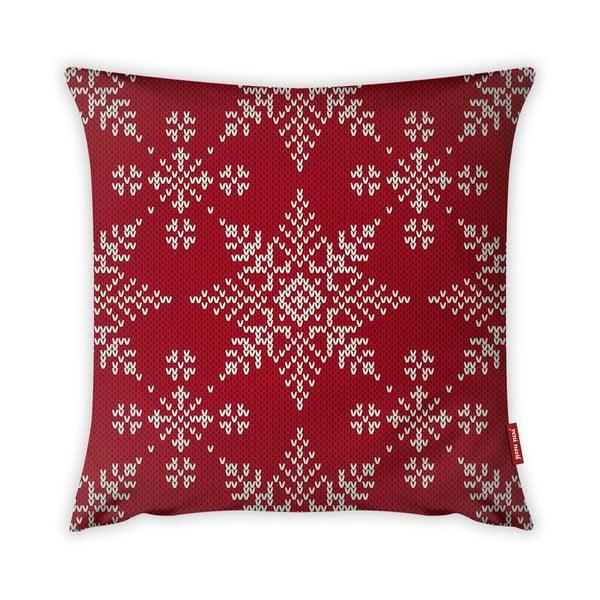 Povlak na polštář Vitaus Christmas Period Red Snowflakes Pattern, 43 x 43 cm