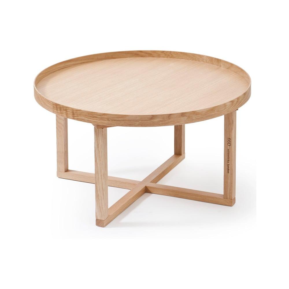 Kulatý dřevěný stolek z dubového dřeva Wireworks Round, Ø 66 cm