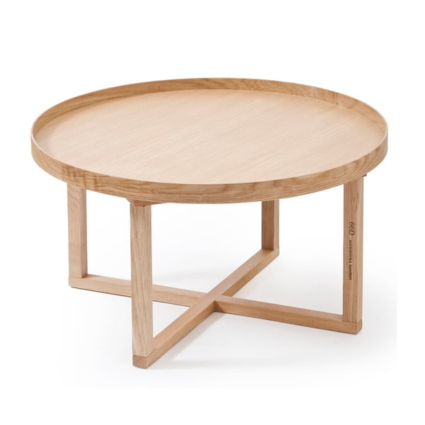 Okrągły stolik z drewna dębowego Wireworks Round