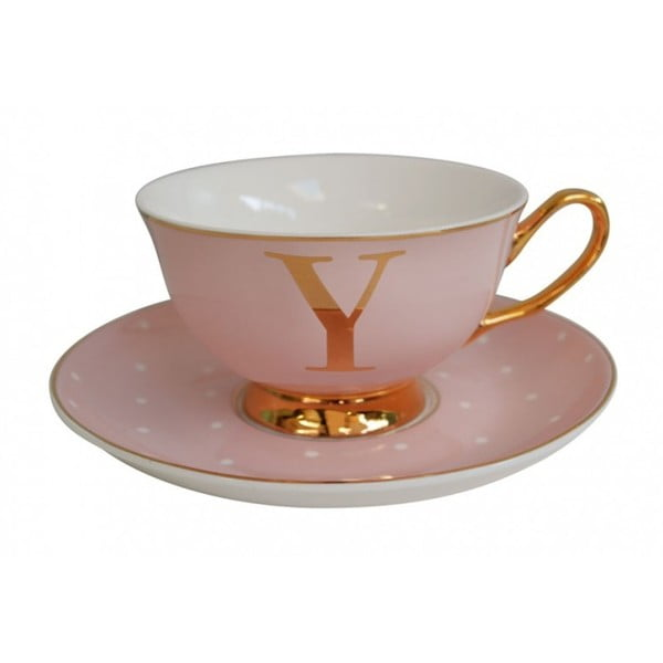 Růžový   hrnek a podšálek s písmenem Y Bombay Duck