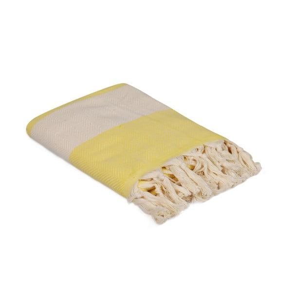 Żółty ręcznik Ocean, 180x100 cm