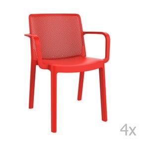 Sada 4 červených zahradních židlí s područkami Resol Fresh