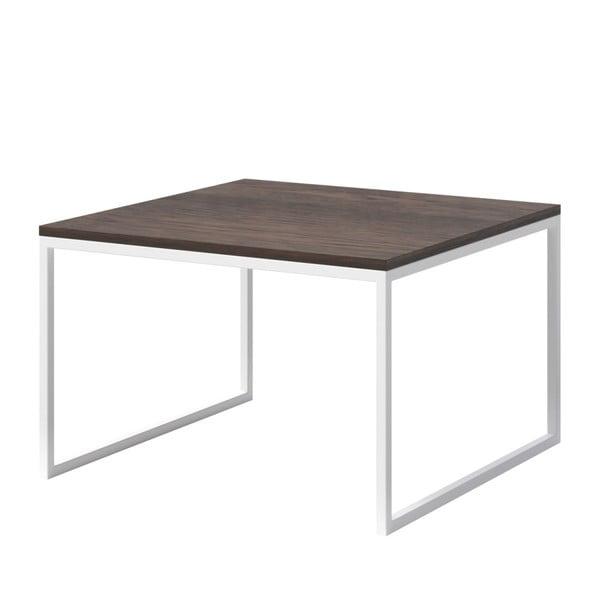 Konferenční stolek s tmavou deskou z dubového dřeva s bílým podnožím MESONICA Eco, 70x70cm