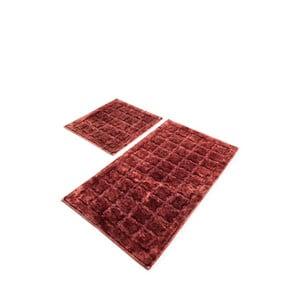 Sada 2 červených bavlněných koupelnových předložek Confetti Bathmats Jean Dusty Rose