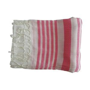 Prosop țesut manual din bumbac premium Petek, 100 x 80 cm, roz - alb