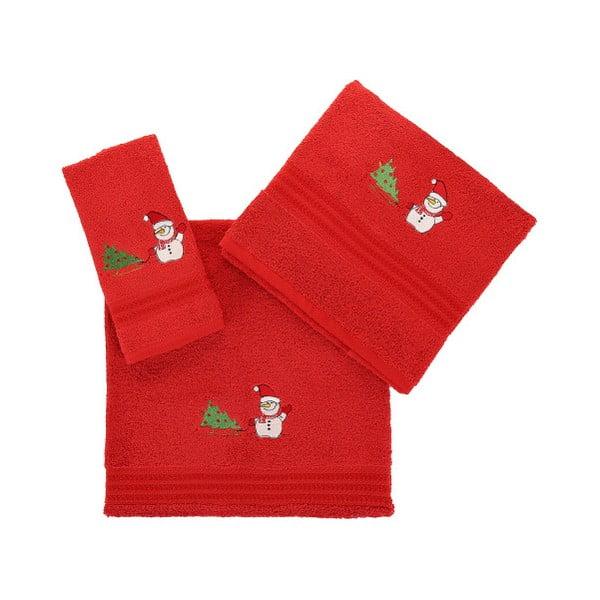 Sada 3 červených vánočních ručníků Snowy