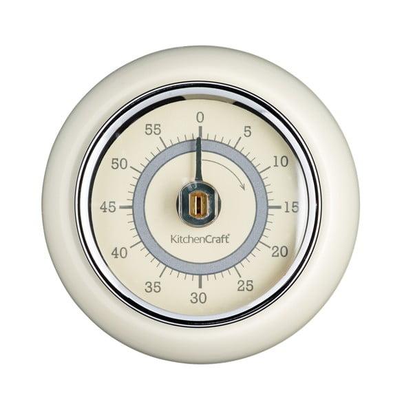 Kuchynská magnetická minútka v krémovobielej farbe Kitchen Craft Living Nostalgia, ⌀ 7,5 cm