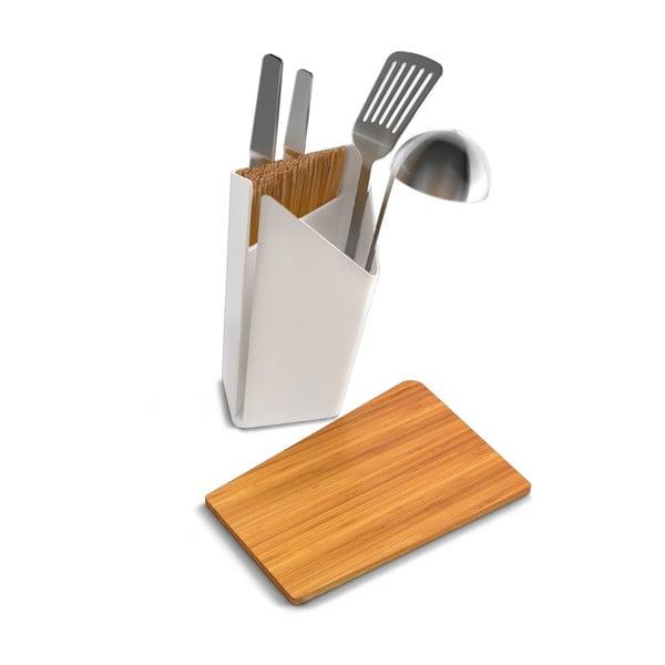 Stojan na nože a kuchyňské nástroje s prkénkem Utensil/Knife Holder + Board, bílý