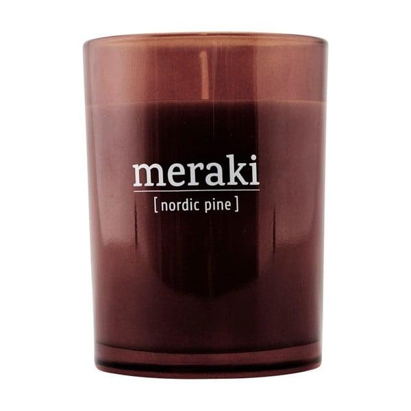 Lumânare parfumată Meraki Nordic Pine, 35 ore, miros de pin