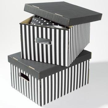 Set 2 cutii pentru depozitare Compactor Stripes, negru de la Compactor