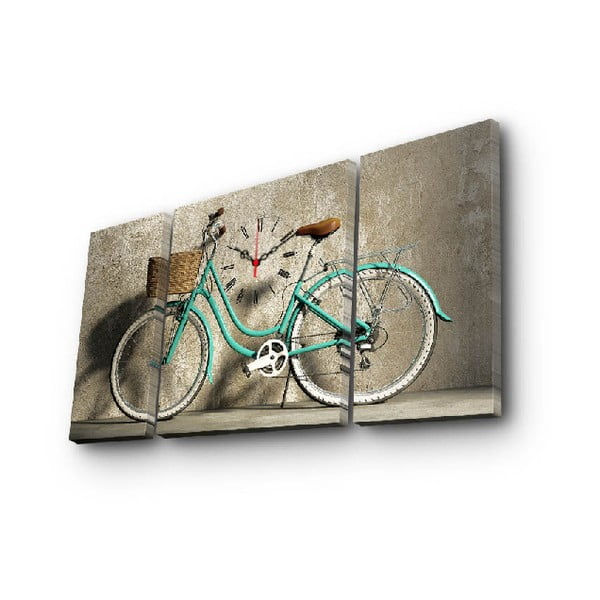 Wieloczęściowy obraz z zegarem Rower, 84x45 cm