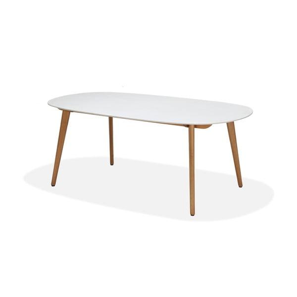 Bílý zahradní stůl s podnožím z eukalyptového dřeva LifestyleGarden Montreux