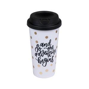 Pahar cu capac pentru călătorii Tri-Coastal Design Adventure Begins with Coffee, 500 ml