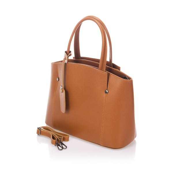 Světle hnědá kožená kabelka Giorgio Costa Brescia