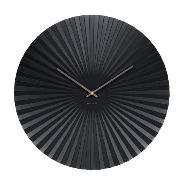 Czarny zegar Karlsson Sensu, Ø 50 cm