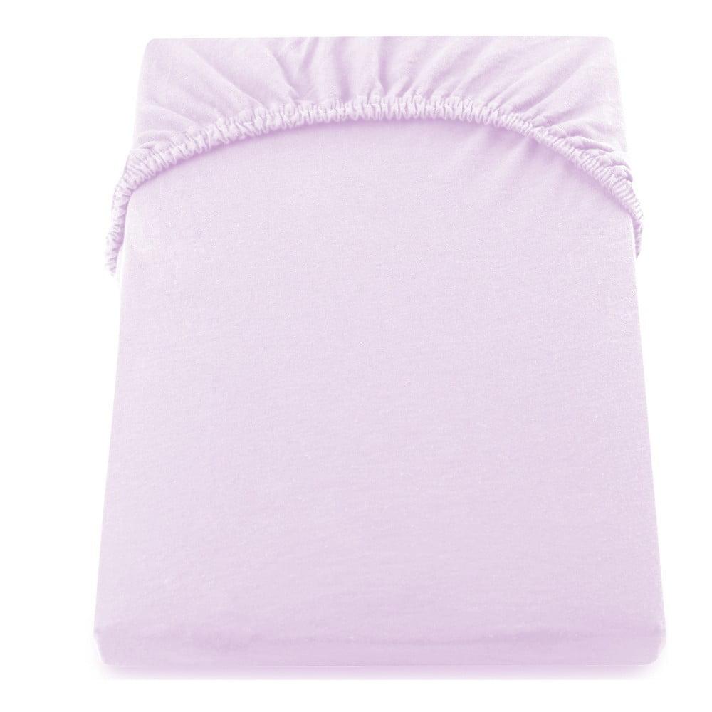 Světle fialové elastické prostěradlo DecoKing Amber Collection, 200-220 x 200 cm