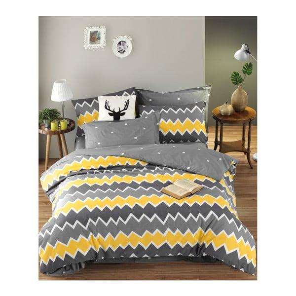 Lenjerie de pat cu cearșaf din bumbac, pentru pat dublu EnLora Home Zigros Yellow, 200 x 220 cm