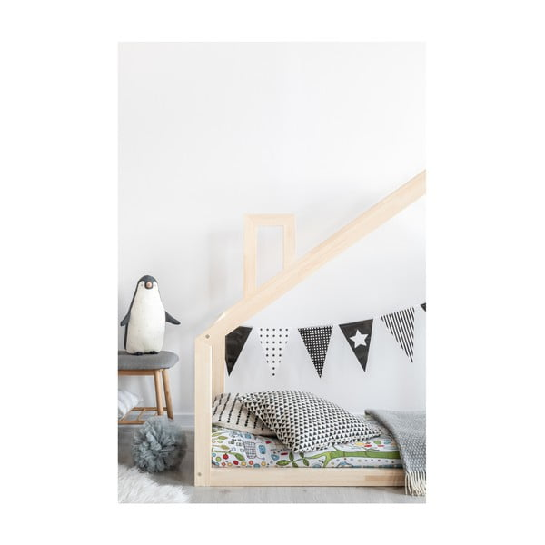 Cadru pat din lemn de pin, în formă de căsuță Adeko Mila DM, 160 x 200 cm