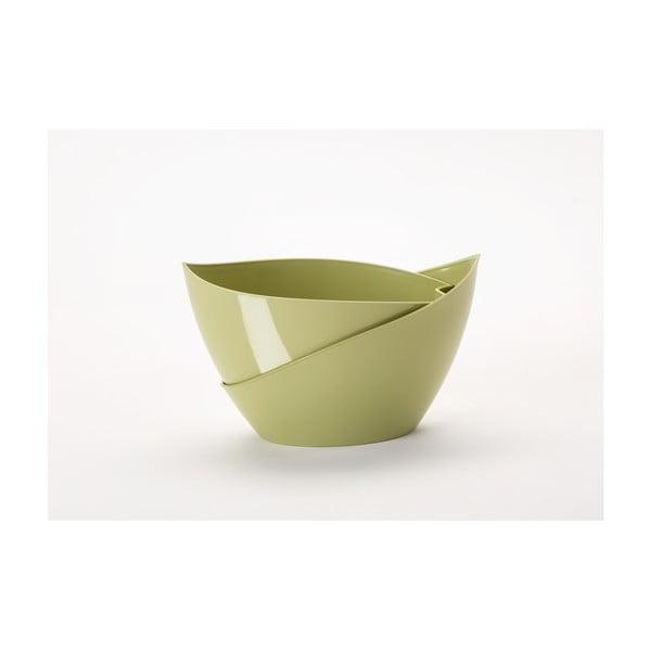 Pastelově zelený samozavlažovací květináč Plastia Doppio