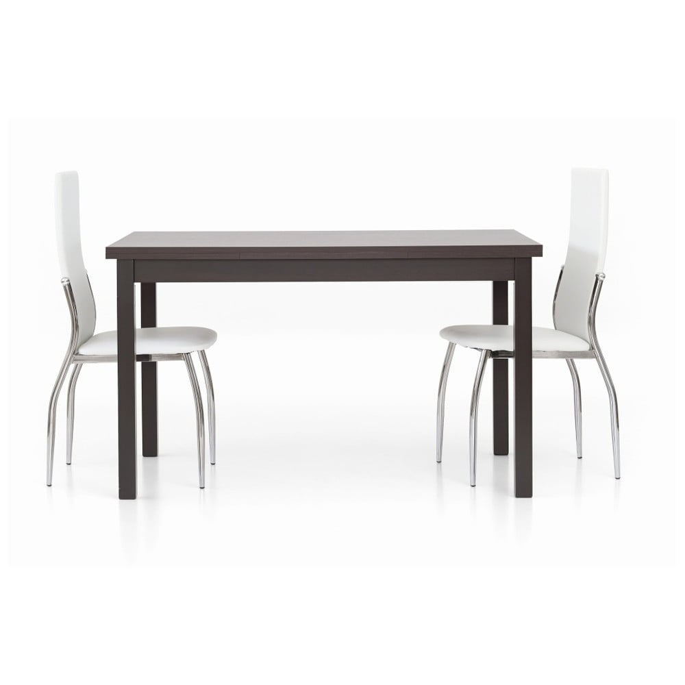 Tmavě hnědý dřevěný rozkládací jídelní stůl Castagnetti Wyatt, 130 cm
