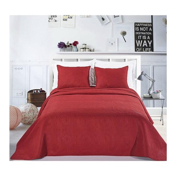 Červený set povlaku na polštáře a přehozu z mikroperkálu DecoKing Elodie, 240x260cm