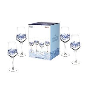 Sada 4 bílomodrých skleněných sklenic na víno Spode Blue Italian, 450 ml