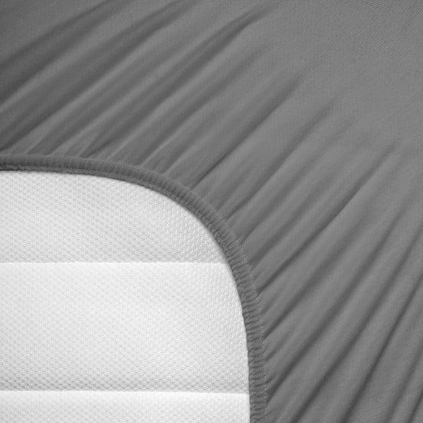 Šedé elastické prostěradlo Homecare,80-100x200cm